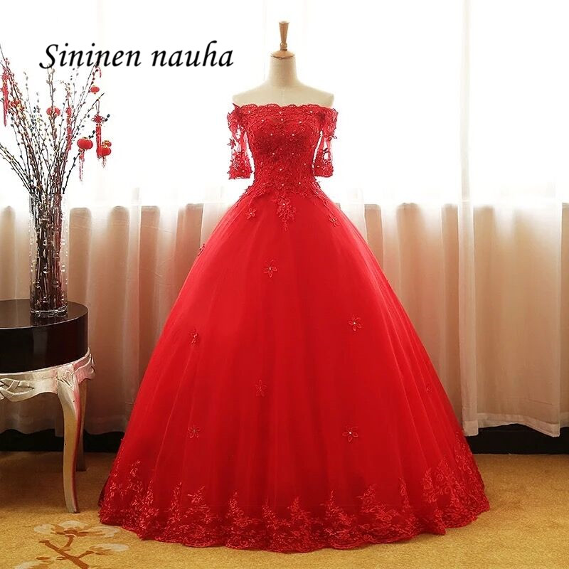 Red Quinceanera Dresses 1/2 Sleeves Prom Party Dress Long Off The Shoulder Ball Gown Vestidos De 15 Anos Sweet 16 Dresses 308 image