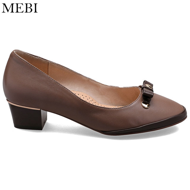 3e2498db79d MEBI WW EW XW EE 2E Extra Wide Women Shoes Med Heel Leather Pumps Casual  Cozy Shoes for Mom Grandma Granny Plus Russian Size 43