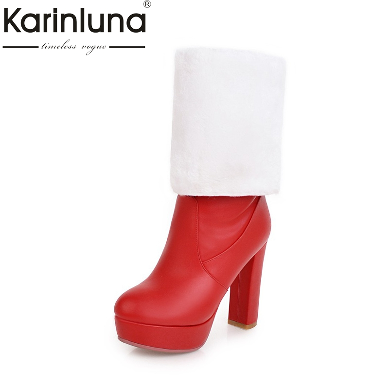 KarinLuna new big size 32-43 high heels warm plush knee high boots women shoes fashion platfrom winter boots woman shoes women leather short plush thick warm snow knee high boots fashion high heels lady knight boots new arrival big size boots