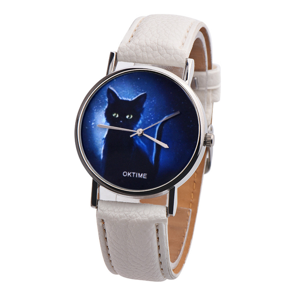 2018 OKTIME Womens Mysterious Black Cat Faux Leather Analog Quartz Watch Women Bracelet Watch Ladies Relogio Feminino faux leather rhinestoned bracelet watch