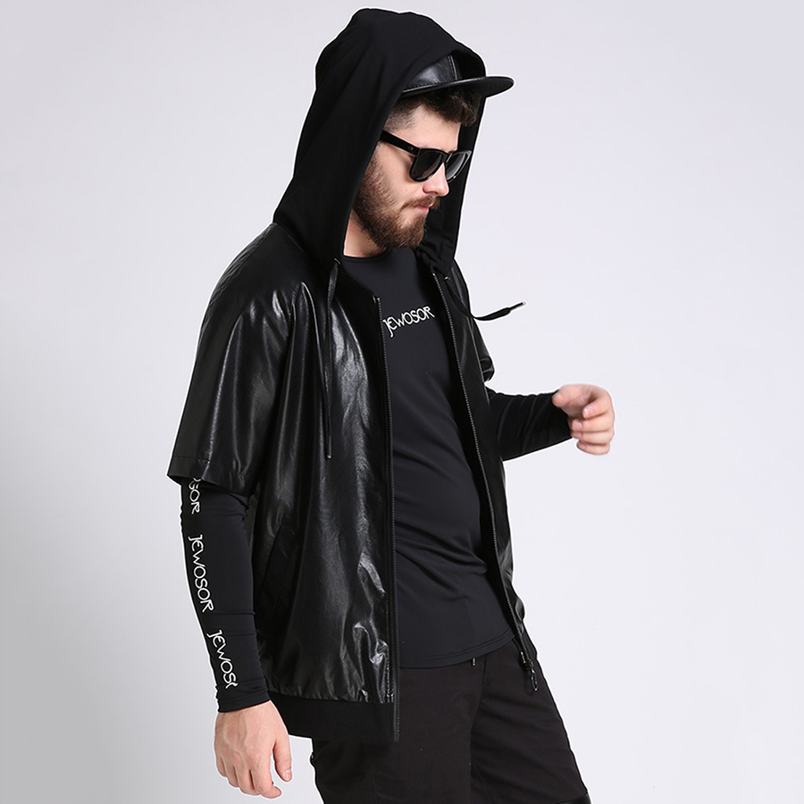 Leather jacket and hoodie - Plusee Leather Jacket Men Hoodie Pu Jacket Short Sleeve Men 2017 Spring Fashion Black Casual Leather Jacket Men Outerwear S 6xl In Faux Leather Coats From