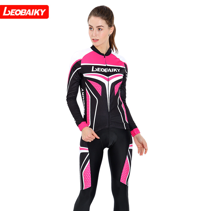 Leobaiky 2018 Brand Cycling Jersey Long Sleeve Jacket MTB Bike Clothing Bicycle Wear Fabric Skinsuit Women Riding Clothes Sets