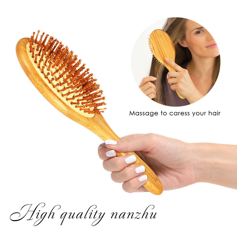 1Pc Hair Beauty Bamboo Bristle Needle Massage Scalp Anti-static Natural Healthy Hair Brush Comb Improve Prevent Hair Loss Tool