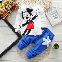 2017 New Fashion 2pcs Boys Girl Kids Baby Toddler Long Sleeve Mickey T Shirt Pants Set