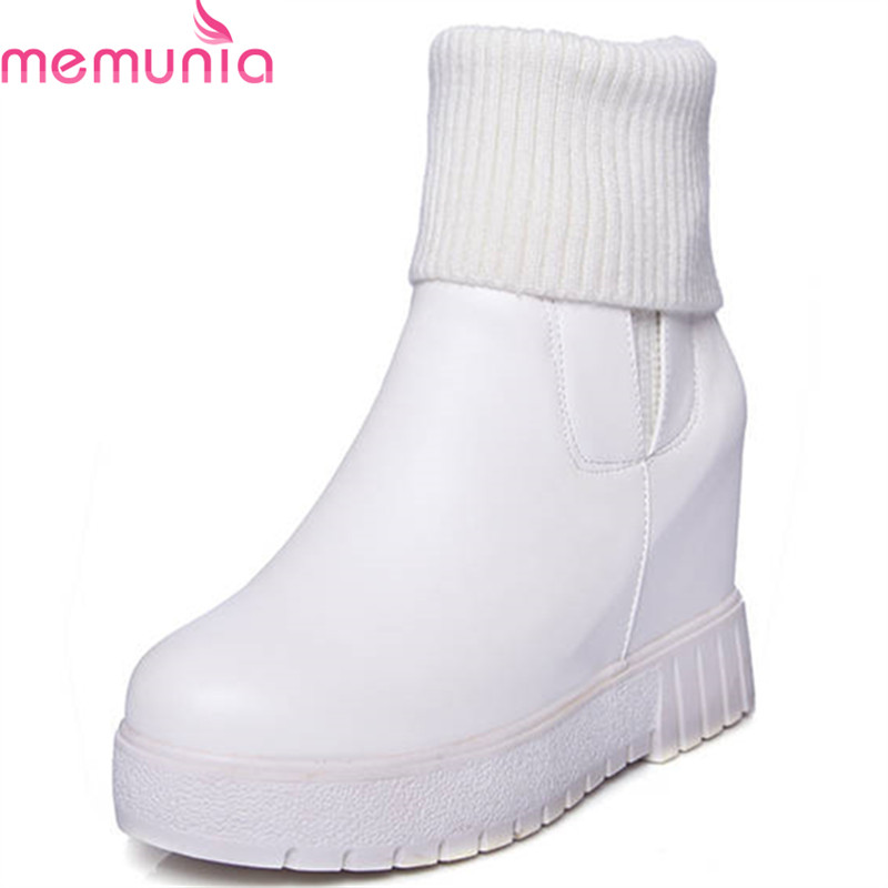 MEMUNIA 2018 new arrival round toe slip on ankle boots platform thick heel shoes solid colors autumn winterfashion boots women