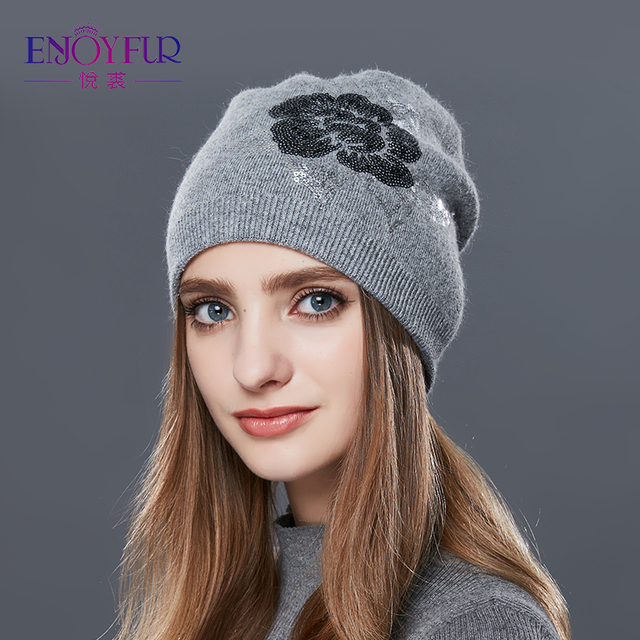 dbb79e10 ENJOYFUR Sequins Embroidery Knitted Hat Female Floral Wool Winter Hats  Women's Cashmere Gravity Falls Cap Girl