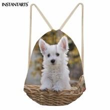 INSTANTARTS Drawstring Bag for Teenager Girl Women Men Casual Drawstring Backpack 3D Cute Dog Westis Floral Pattern Storage Bags