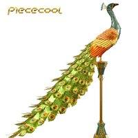 Piececool 3D Metal Nano Puzzle Colorful Peacock Diy 3D Metal Model Kits P102 NGB Laser Cut Assemble Jigsaw Toys