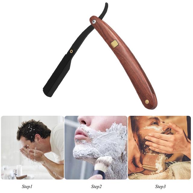 Stainless Steel Straight Edge Razor Folding Shaver Knife Barber Razor Wooden Handle Facial Hair Eyebrow Beard Shave Shaving Tool