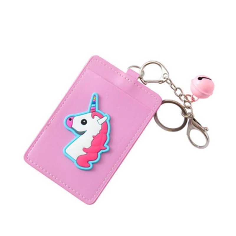 Мультфильм единорог; Фламинго из искусственной кожи карты ID держатели сумка для женщин путешествия банк для транспорта и кредитных карт карты брелок крепление брелок для ключей