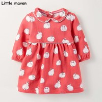 Little maven kids brand clothes 2017 autumn new baby girls clothes Cotton rabbit print girl button dresses S0260