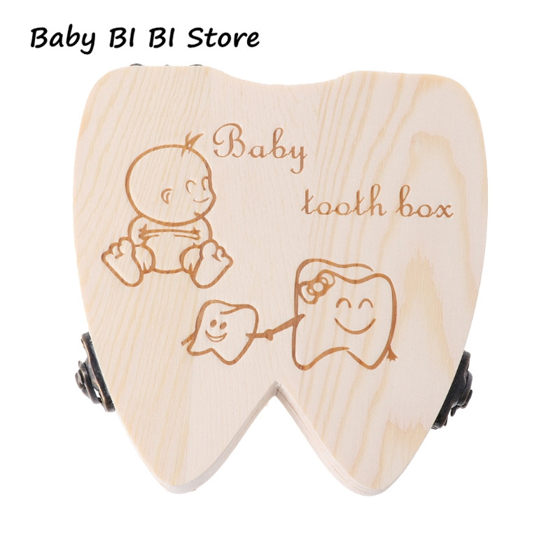 Baby Tooth Box Wooden Milk Teeth Organizer Storage Boys Girls Save Souvenir Case Baby Teeth Box