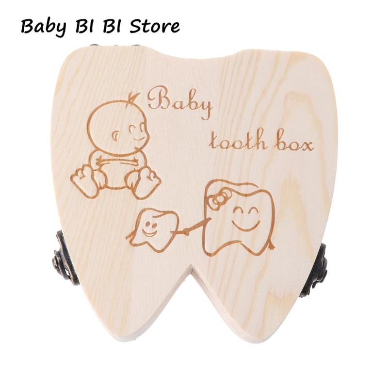 Baby Tooth Box Wooden Milk Teeth Organizer Storage Boys Girls Save Souvenir Case Baby Teeth Box