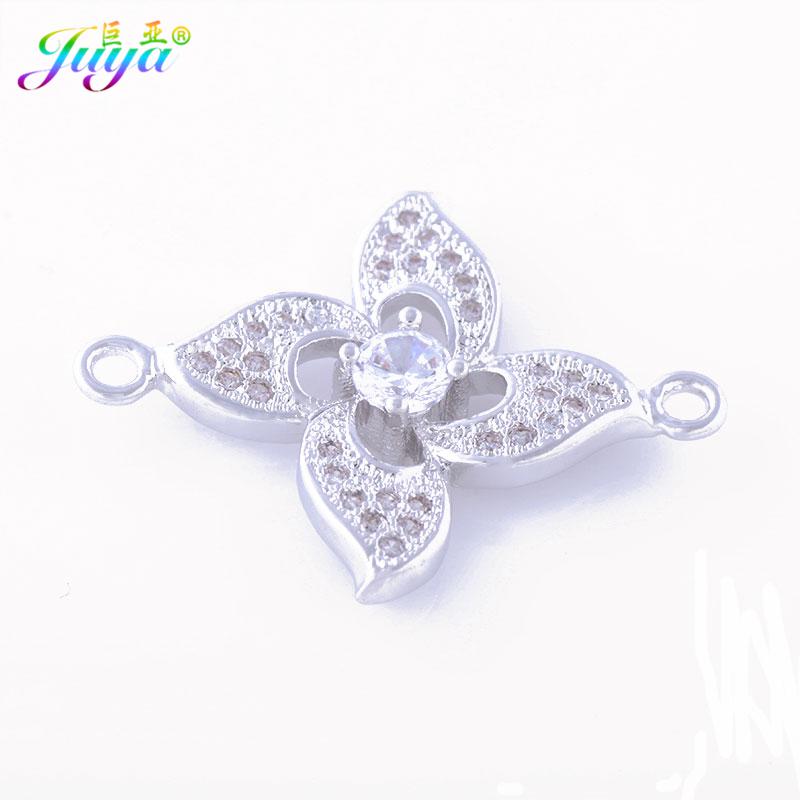 Juya Jewerly Accessories Paved Zircon Gold/Rose Gold Flower Charm Connector Findings For Women Charm Bracelet Earring DIY Making