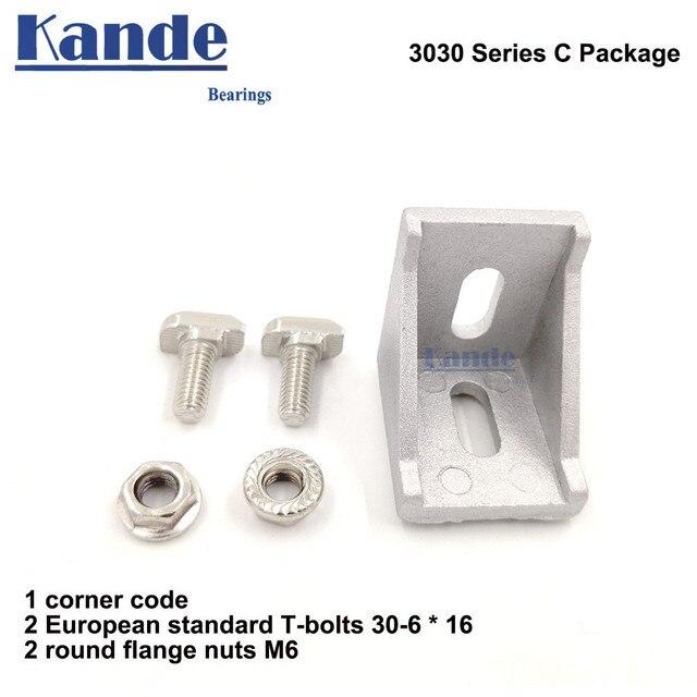 Attache du support de connecteur en aluminium   angle de montage dangle 3030 30x30 L avec écrou coulissant, boulon à t-écrou semi-circulaire 1 ensemble