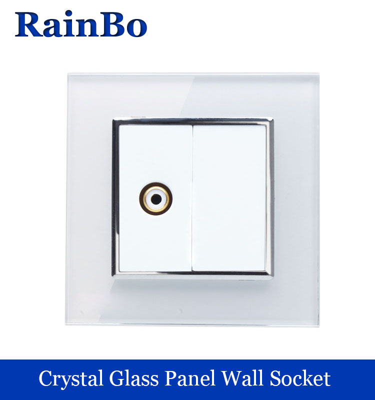 rainbo brand Free shipping  Crystal Glass Panel wall Video Socket / Outlet  Without Plug adapter A18VIW/B free shipping qhy polemaster electronic polarscope without adapter