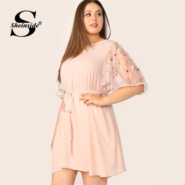 Sheinside Plus Size Pink Applique Contrast Mesh Sleeve Dress Women 2019 Summer Half Sleeve Dresses Ladies Belted A Line Dress 3