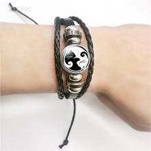 цена на Fashion Retro Two Yin Yang Cat Pendant Bracelet Multi Layered Black Braided Leather Convex Dome for Accessories Women Men Gift