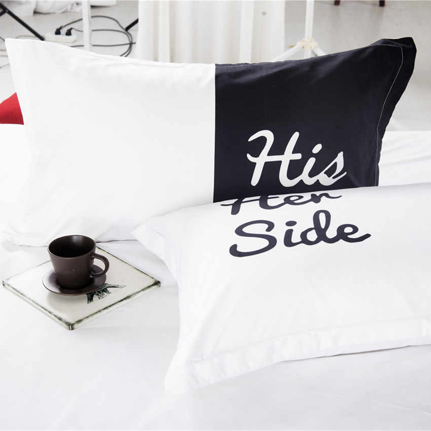 His Side Her Side 3 or 4 Pcs Bedding Set Home Textiles White Black Color Duvet Cover Queen King Size