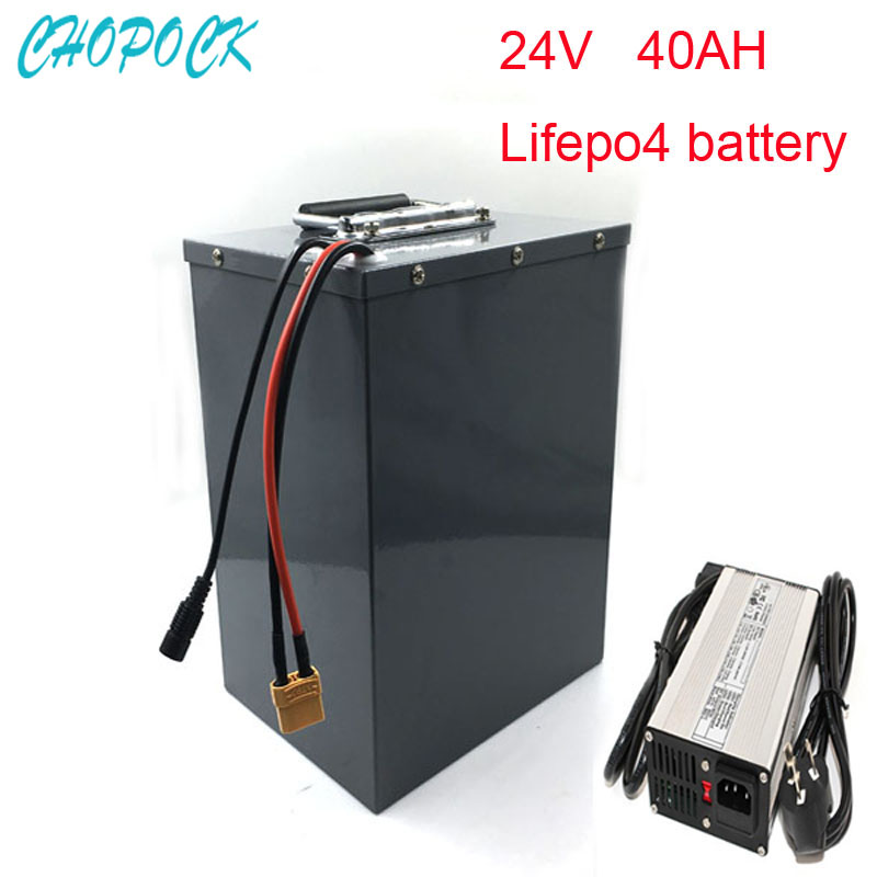 Super Capacity 24V 40Ah Lifepo4 Battery Pack 24V 250W Electric Bike Battery with 5A charger and BMS risunmotor 24v 40ah lifepo4 battery with bms 5a fast charger electric bicycle battery for electric scooter