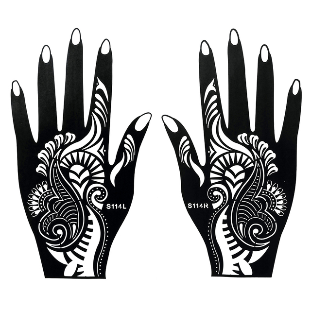 Aliexpress Com Beli 1 Pair Hitam Henna Indian Tato Tahan Air Untuk