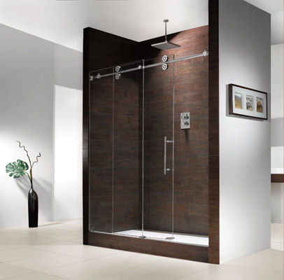 66ft Walk Inline Sliding Barn Shower Door Twin Roller Frameless