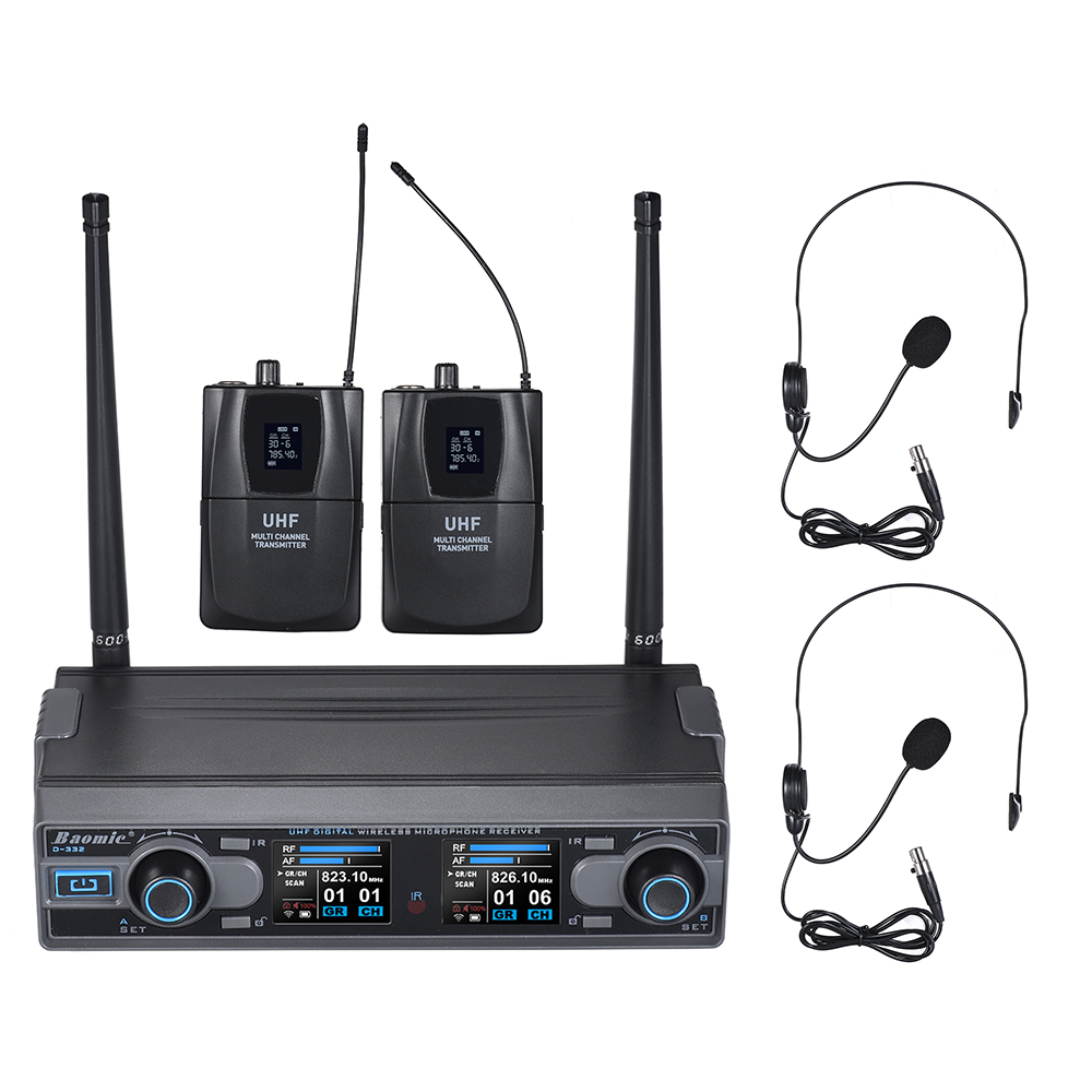 Baomic D332 Professional Dual Channel UHF Digital Wireless Headset Microphone System 2 Microphones 1 Receiver 6.35mm Audio Cable