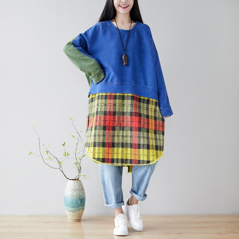 Harajuku personnalité patchwork sweat à capuche pour femme crash couleur plaid lâche long sweat à capuche décontracté sweat mode streetwear
