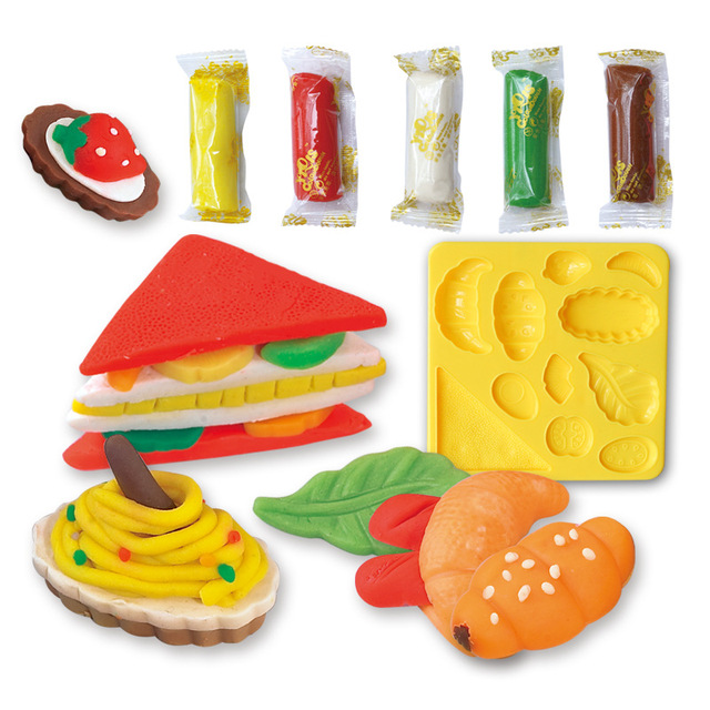 Multicolored plasticine play dough modeling clay DIY tool set sandwich toxic mold tool set toys children's educational toys