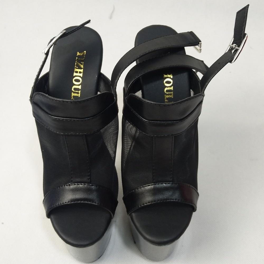 Sandalias Exótica Elegante 15 Stiletto 6 Atractivos Moda Vestido Los Zapatos De Toe Pulgadas Las Cm Bailarina Tacones Mujeres Negros Peep Hx6xZPq
