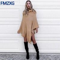 Khaki Loose Cotton Turtleneck Sweater Wrap Women Knitting Irregular Pullover Streetwear Winter Sleeveless Sweater Shawl Jumper