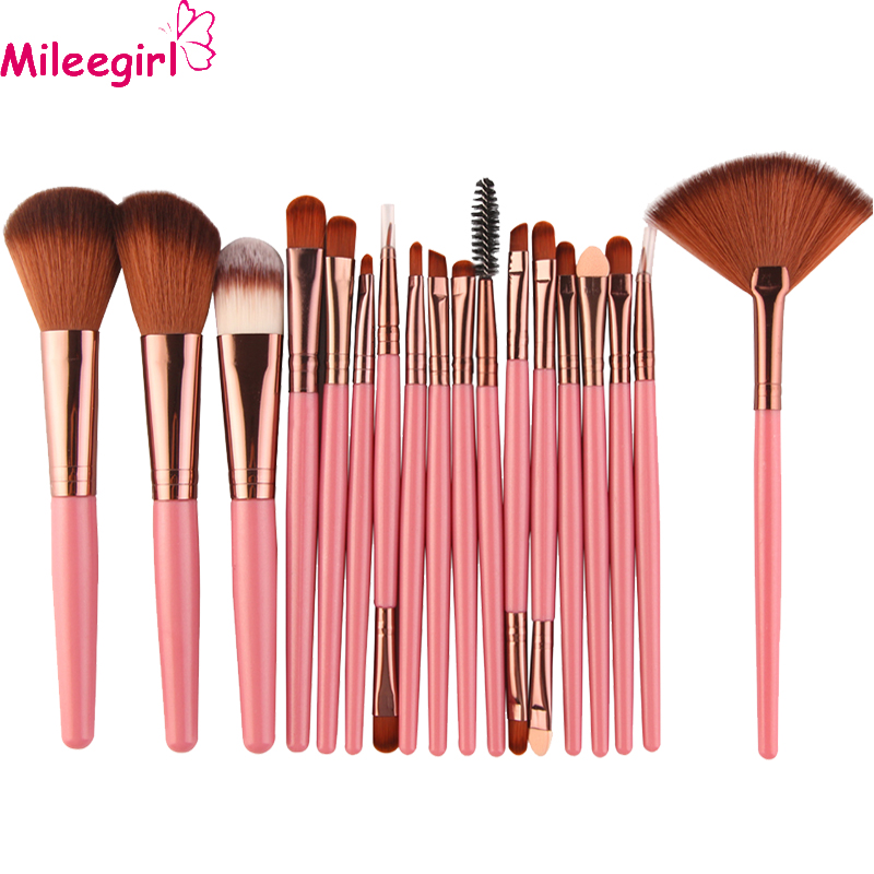 Mileegirl 18Pcs/set Makeup Brushes Kit Foundation Blush Power Eyebrow Shadow Blending Fan Cosmetic Beauty Make Up Brush Tools