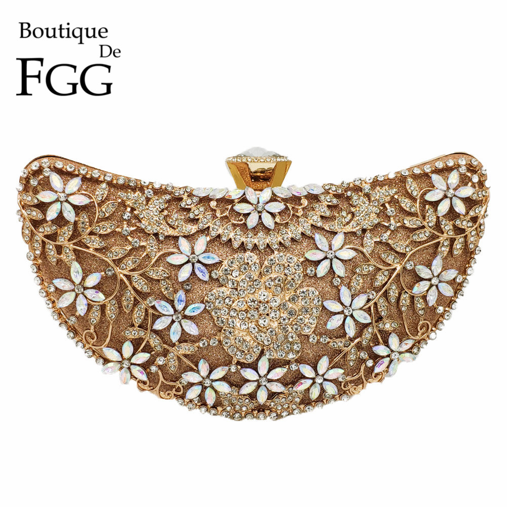 Boutique De FGG Hollow Out Floral Appliques Luxury Handbags Women Crystal Evening Clutch Bags Bridal Flower Handbag Wedding Bag