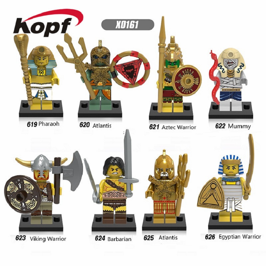 Super Heroes Medieval Egyptian Warrior Aztec Pharaoh Atlantis Mummy Barbarian Model Building Blocks Children Gift Toys X0161