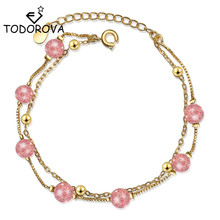 Todorova Korean Fashion Sweet Natural Strawberry Crystal Bead Charm Bracelets Double Layer Chain Link Bracelet for Women Jewelry