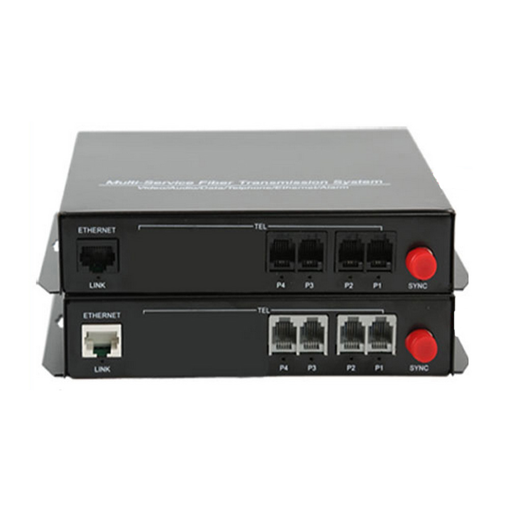 High Quality 4 Channel PCM Voice Telephone Fiber Optical Media Converter With Ethernet FC Single mode 20Km
