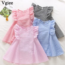 Vgiee Dress for Baby Girl Dresses 2019 Summer Party Princess Dress Sleeveless Plaid Little Girls Clothing CC320