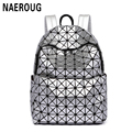 New Arrivals Women Laser Backpack Diamond Lattice Shoulder Bag Geometry Quilted Pearl Backpacks for Teenagers Mochila Feminina