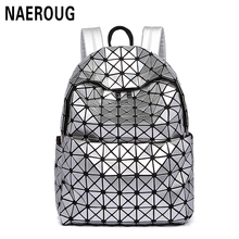 New Arrivals Women Laser Backpack Diamond Lattice Shoulder Bag Geometry Quilted Pearl Backpacks for Teenagers Mochila