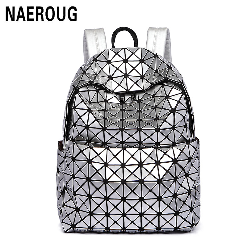 New Arrivals Women Laser font b Backpack b font Diamond Lattice Shoulder Bag Geometry Quilted Pearl