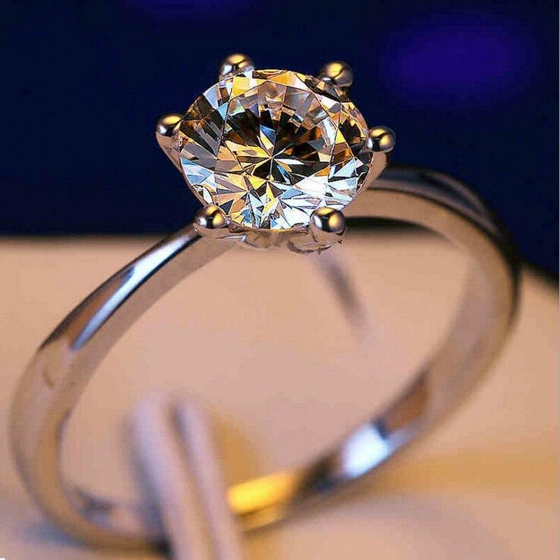Solitaire Classique Six Griffe De Luxe Bijoux Marque Nouveau 925 Sterling argent 5A Cubique Zircone Mignon DE Femmes Bague De Mariage cadeau