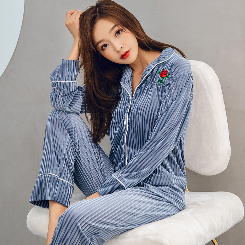 Gold Velvet Women   Pajamas     Sets   WAVMIT Autumn Winter Long Sleeve Sleepwear Warm Mother Pijamas Mujer Leisure   Pajamas   for Women