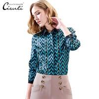 CISULI 100% Mulberry Silk Blouses Women Shirt Silk Satin Blouses Woman Long Sleeve Plus Size 5XL