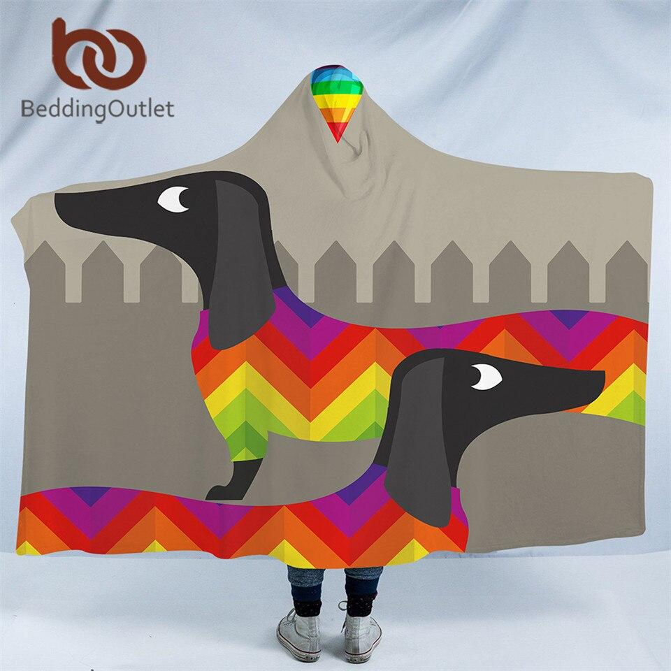 BeddingOutlet Dachshund Sausage Hooded Blanket Rainbow Puppy Sherpa Fleece Wearable Cartoon Dog Pet Throw Blanket Microfiber