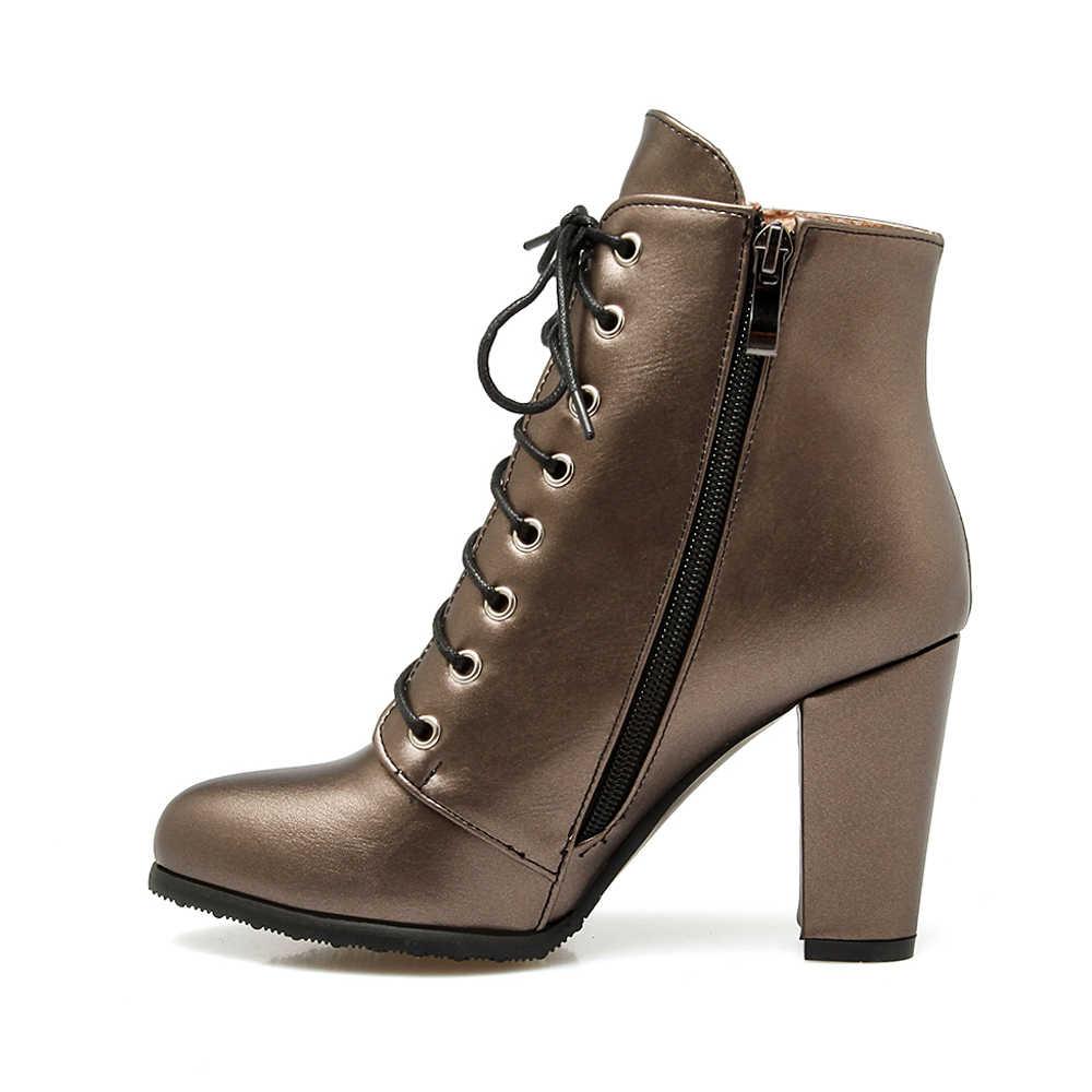 Meotina Kadın Çizmeler yarım çizmeler Lace Up Aşırı Yüksek Topuk kısa çizmeler Fermuar Sivri Burun Kalın Topuk Ayakkabı Kadın Kış Boyutu 3