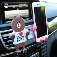 Cartoon Car Mobile Phone Holder Clip Air Vent Mount GPS Car Phone Holder Adjustable Hand And