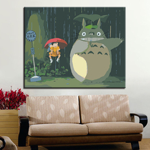 Cartoon Movie Totoro In Rainy Day Picture By Numbers DIY Painting Kits Hand painted On Linen Canvas Home Decorative Unique Gift