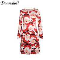 Donnalla Women Dress Autumn Spring Female Long Sleeve Snowman Printed A Line Dresses Womens Plus Size