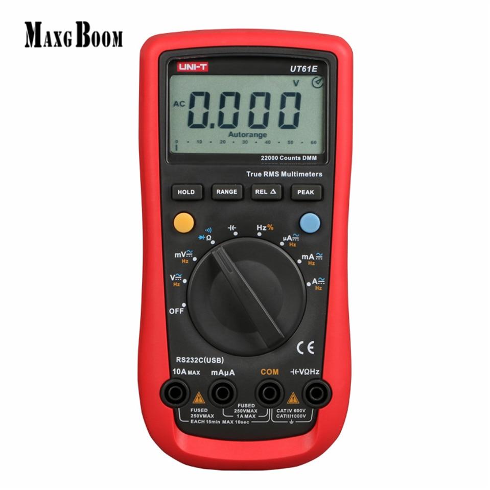 MaxgBoon UNI-T UT61E Reliability Digital Multimeter Modern Digital Multimeters AC DC Meter CD Backlight & Data Hold Multitester uni t ut60b modern auto ranging data hold dmm digital multimeters w capacitance