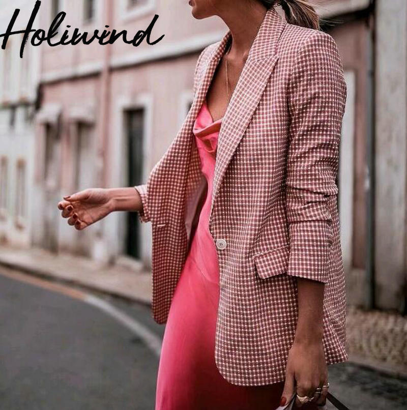 2019 Fall Women Pink Plaid Blazer One Button Office Lady Elegant Blazer And Jackets Jacket In A Cage Female